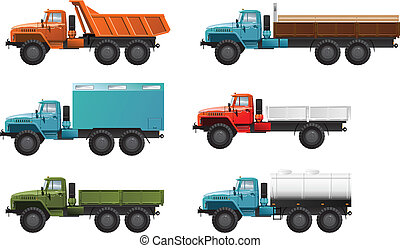 Vector color illustration of trucks . (Simple gradients only - no gradient mesh.)