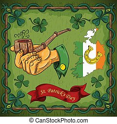 color illustration on the theme of St. Patricks day celebration, hand holding a Smoking pipe