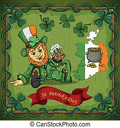color illustration on the theme of St. Patricks day celebration, leprechaun dwarf sitting with a glass of beer