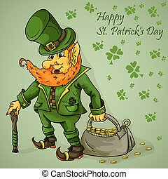 color illustration on the theme of St. Patricks day celebration, leprechaun with a cane holding a bag of gold coins