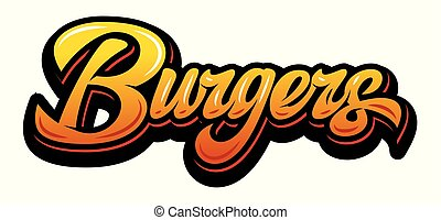 Vector color illustration with calligraphic burger lettering