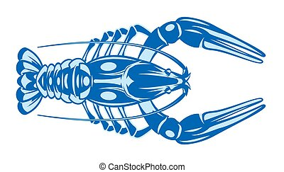 Vector color illustration with crayfish on white background