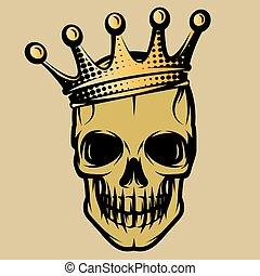 Vector color illustration with skull in crown