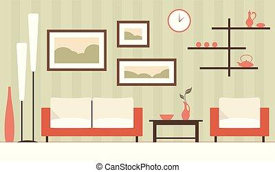 Vector color interior of cartoon minimalistic modern living room.