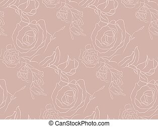 Vector Color Line Drawing Floral Seamless Pattern