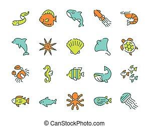 Vector color linear icon set of underwater fish, marine animals