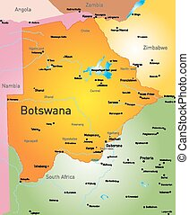 Vector color map of Botswana