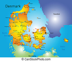 Denmark - Vector color map of Denmark country