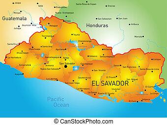 El Salvador - Vector color map of El Salvador country