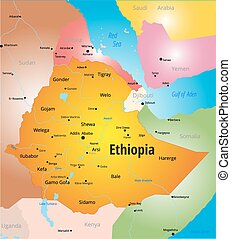 Vector color map of Ethiopia country
