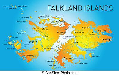 Vector color map of Falkland islands