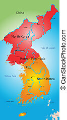 Koreas countries - vector color map of Koreas countries