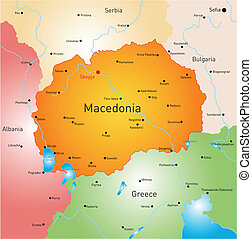 Macedonia - vector color map of Macedonia country