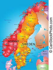Norway and Sweden - vector color map of Norway and Sweden...