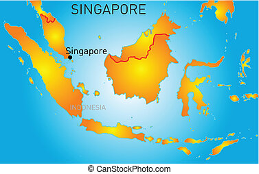 Administrative divisions map of the republic of singapore vector