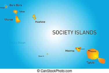 society island - Vector color map of society island