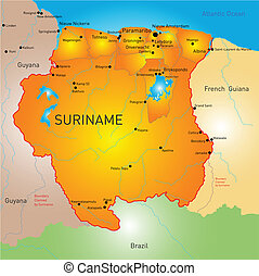 Suriname - Vector color map of Suriname