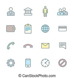 vector color outline various social network icons set