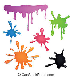 Vector Color Paint Splashes - Vector Illustration of Color...