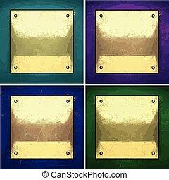 vector color painted golden background set
