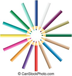 vector color pencil on white background