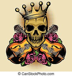 vector color poster template with guitar, skull and Rose
