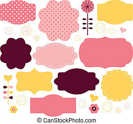 Vector color retro labels set isolated on white - Cute...
