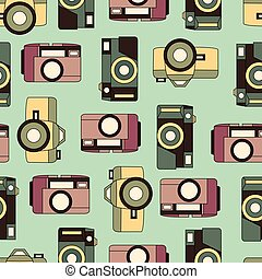 Vector color retro seamless photo camera with shutter