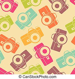 Vector color retro seamless photo camera with shutter