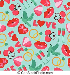 Vector color seamless pattern of wedding and love symbols