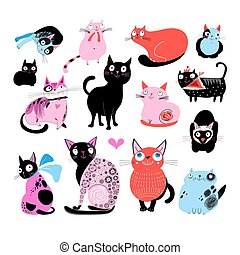 Vector color set of different funny cats