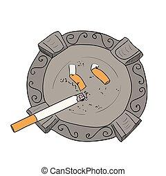 Vector color sketch ashtray with cigarette