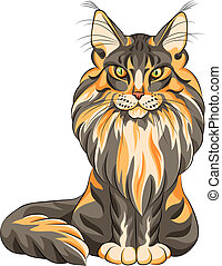 Vector color sketch serios black and red fluffy Maine Coon (American Longhair) cat sitting