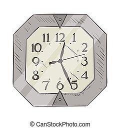 Vector Color Sketch of Clock