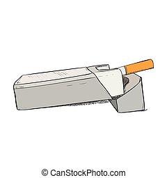 Vector color sketch of pack cigarettes