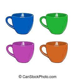 Vector color sketch set of cups.