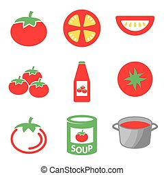 Vector color tomato icons set.