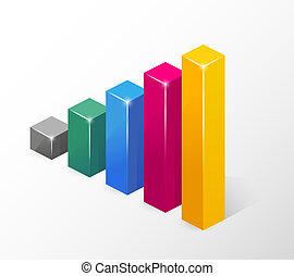 Vector Colored Bar Chart Isolated on White