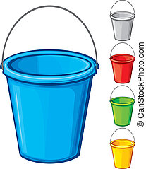 vector colored bucket with handle (buckets in five colours, buckets collection, bucket set)