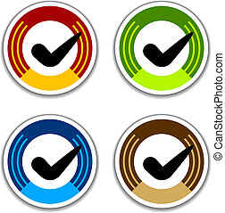 vector colored checkmark stickers
