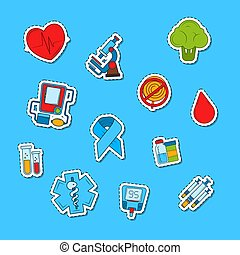 Vector colored diabetes icons stickers set illustration