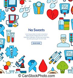 Vector colored diabetes icons with place for text