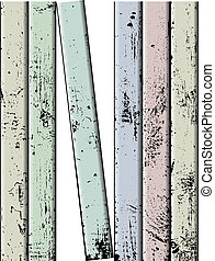 Vector colored fence - Vector weathered painted wooden plank