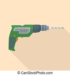 vector colored flat design electric hand drill icon with shadow