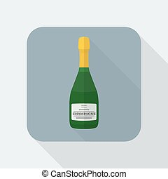 vector colored flat design green champagne bottle icon with shadow
