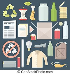 vector colored flat design icons and signs for separate collection of waste