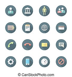 vector colored flat design round various social network icons set long shadow