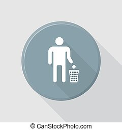 vector colored flat design waste sign icon man and dustbin with shadow