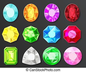 Vector Colored gems diamonds set isolated
