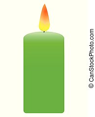 Vector, colored illustration of decorative, aromatic, green candle. Topics of relaxation, celebration, romance, decoration, design